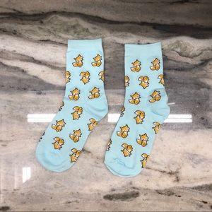 Light Blue Cute Fox Socks